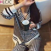 Kadınlar Pijama Feminino pijama 200919 için Klasik Houndstooth Pijama Kadınlar Yeni Yaz Pijamas Seti İpek Leke pijamalar Pijama
