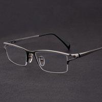 패션 선글라스 프레임 티타늄 안경 프레임 남성 빈티지 절반 림 눈 남자 광학 근시 처방 안경 안경 맑은 oculos