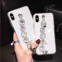 Bling caso de cristal claro que bling strass cadeia de diamante pulseira para iphone 11 Moda caso designer de luxo para pro max x xr xs max 6 7 8 mais