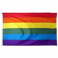 Rainbow Banner Flags 90x150cm Lesbian Gay Pride Polyester LGBT Flag Banner Flags Party Supplies Rainbow Flag DHL Free shipping