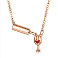 قلادة القلائد من مجوهرات شخصية الزركون مطعون السيدات الحب الأحمر النبيذ زجاجة كأس قلادة للنساء حزب هدية