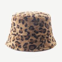 Autumn Faux Fur Leopard Womens Winter Bucket Hats Bob Thick Warm Lady Girls Japanese Panama Outdoor Travel Velvet Fisherman Hat