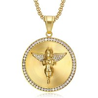 18k gold plated stainless steel angel pendant hiphop necklac...