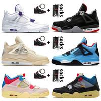 Nike Air Jordan 4 4s Jordan Retro 4 Off White Travis Scott Jumpman Kadın Erkek Basketbol Ayakkabı 4s SatenÜrdünyelken 4 Guava Buz Birliği eğitmenleri ayakkabı kapalı Retro