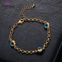 Link, kette blau böse augen kristall charme armbänder für frauen muslim schmuck 3 türkisches armband gold color plattiert nie verblasst
