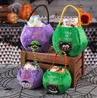 Halloween Pumpkin Storage Bags Trick or Treat Basket Totes Kids Candy Gifts Handbag Bat Cat Cartoon Embroidery Hallowmas Hand Bag D9710
