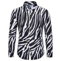 Erkek Elbise Gömlek M-3XL Streetwear ABD Boyutu Gömlek Erkekler Zebra Cilt Baskılı Smokin Parti Uzun Kollu Hafif Ofis Erkek Moda XXXL