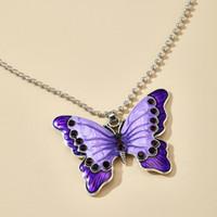 Collana Femminile Nuova catena accessori della lega di modo di diamante della clavicola catena di strato Viola Piccola Farfalla singolo ciondolo collana