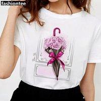 Kadın T-Shirt Fixsys Beyaz T Gömlek Kadın Yaz Çiçekler Şemsiye Kısa Kollu Bayan Tshirt Bayanlar Grafik Kadın Tee Tops