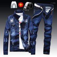 Sets beiläufige kühle Zweiteilige Sets Herren Frühling und Herbst dünnen 2pcs Loch Jacke Ausgefranste Solid Color Pants Men