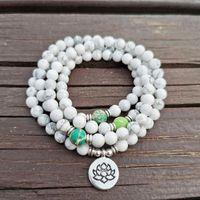 Charm Bilezikler 6mm Doğal Howlite Taş 108 Buda Mala Bilezik veya Kolye Yoga Beyaz Kadınlar için Yaz Moda Takı