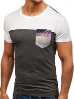 Топы Причинная дышащий тройники Флаг ленты Карманный Мужская Tshirts Мода лето вокруг шеи мужская с коротким рукавом