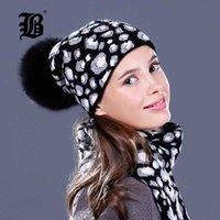 [FLB] Raccoon lana vera pelliccia di Pom Poms Cappello femminile Donne calda lavorata a maglia casuale di alta qualità Cappelli invernali Berretti Skullies