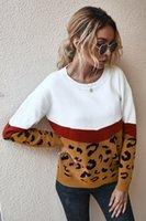 Mulheres leopard patchwork malha blusas moda casual manga longa tripulação de cor bloco outono inverno senhoras o-pescoço jumper pullovers top macio quente pull femme 2082