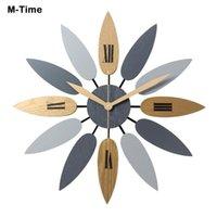 북유럽 스타일 잎 패턴 벽 시계 레트로 자동 시계 개요 홈 오피스 거실 장식 높은 품질 음소거 쿼츠 시계 klok