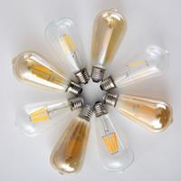 Vintage 4 W 6 W 8 W Edison LED Ampuller E27 220 V Retro Ampul Lamba Filament Ampul Temizle Amber Kapak