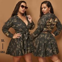 Trench femminile Cappotto lungo Cappotto Camouflage Pailletted ombrello Gonna Skirt Spring with Belt Turn-Down Collar Safari Style Plus Size