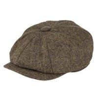 SBOY Hüte Botvela Wolle Tweed Cap Heringbone Männer Frauen Gatsby Retro Hutfahrer Wohnung Schwarz Braun Gelb Navy Blau 005