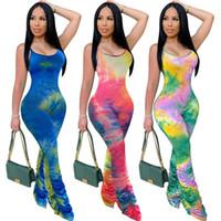 Ärmel Patchwokr Farbe Designer Frau Kleidung Dropshipping Frauen-Spielanzug Tie-Farbstoff dünne Stacked Hosen Sexy Overalls beiläufige