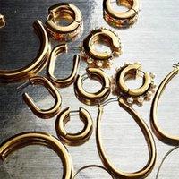 간단한 큰 기하학적 후프 귀걸이 스테인레스 스틸 골드 컬러 서클 호지 귀걸이 패션 펑크 쥬얼리 Brincos 2020