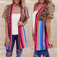 Manteau à manches courtes causales lambrissé Stripe Vêtements pour femmes Femmes Designer Contraste Couleur Cap Fashion Leopard Imprimer Cradigan