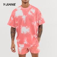2 pièces Ensembles d'été Tiedye Impression Survêtement Hommes Casual Mode imprimé floral + Chemises Shorts Set Mens plage hawaïenne Vêtements # G3