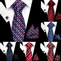 Düğün Çizgili Ekose Tie Erkekler 7.5cm% 100 İpek Kravat Mendil Cuffink Seti Mavi Kırmızı Düğün Tie Hanky Erkek için İlişkileri ayarlar