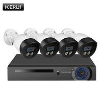 Sistemler KERUI H.265 4CH 5MP Güvenlik Kamera Sistemi Seti Su Geçirmez Video Gözetim IP CCTV Yüz Kayıt NVR POE Seti