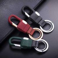 2020 Jobon High-Grade Classic Men KeyChain Custom Lettering Car KeyChains Buckle Leather Key Ring Holder Best Gift For Lover