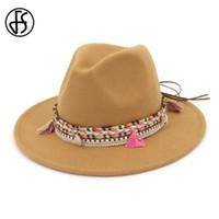 FS صوف بريم على نطاق واسع ورأى القبعات الرجال النساء الجاز قبعة فيدورا بنما أسلوب رعاة البقر حزب تريلبي اللباس الرسمي القبعة الخضراء الوردي الأسود القبعات