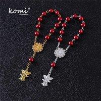 매력 팔찌 KOMI 디자인 여성 남성 유리 묵주 묵은 천사 펜던트와 함께기도 긴 체인 선물 Pulseras