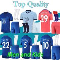 20 21 Pulisic 성인 어린이 키트 축구 유니폼 세트 남자 Kovacic Willian Jorginho Giroud Kante Werner 2020 2021 마운트 홈 멀리 축구 셔츠