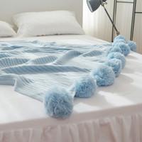 Mantas 200x150cm Calidad sólida Cotton Pom Ganchillo Hilo Manta de hilo para bebés Adultos Twin Size Bed Tirones de punto Sofá Decoración para el hogar