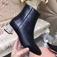 Prowow New Fashion Style Black Women Ankle Boots Round Toe Side Zip Crystal Thick Heel Boots Women Genuine Leather Shoes Woman