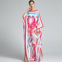 Vestidos de pista de las mujeres raya vertical escote largo de murciélago mangas Impreso Diseño de punto flojo vestidos elegantes batas largas Causal