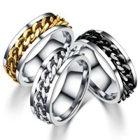 Stainless steel Ring with turning Chain, mix size: 6- 11, Luck...