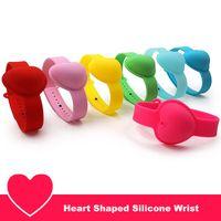 Líquido 1 definir coração em forma de pulseira de pulso de silicone 10ml sanitizador de mão desenhador de desenhador de dispensadores portáteis pulseira de cinta wearable portátil