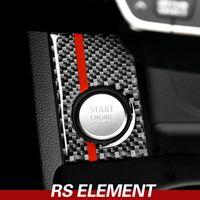 Para Motor Car Carbon Fiber Audi A4 A5 Start Stop ignição Tampa guarnição Chaveiro de Automotive Interior decalques das etiquetas 2017-2022