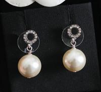 Tem moda selo brincos mini carta de diamantes pérola arêtes Orecchini para o engajamento de jóias amantes casamento mulheres partido presente com caixa