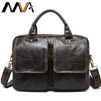 MVA mens bag briefcase leather office laptop bag for mens genuine leather bag business document man briefcase handbag 8002-1