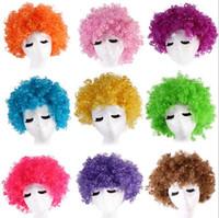 Livraison gratuite Halloween cos enfants Nuanciers peluche adulte cheveux cos multi couleur tête d'explosion spectacle de clown tache