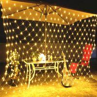 210 LED 페어리 그물 라이트 메쉬 커튼 문자열 웨딩 크리스마스 파티 장식 따뜻한 백색 결혼식 네온 gypsophila 조명 야외 방수 빛
