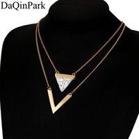 Collane pendenti 2021 V lettera forma triangolo pietra doppio strato geometrico bijoux dichiarazione collana gioielli da partito per le donne