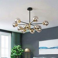 LED خمر الثريا E27 جولة الزجاج الكرة الخفيفة لغرفة المعيشة غرفة نوم مطبخ فرع شجرة الثريا الديكور مصباح