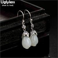 Uglyless 100% Real Solid 925 Sterling Silver Leaf Earrings for Women Thai Silver Flower Earrings Nature Jade Magnolia Fine Jewel