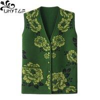 giacca senza maniche fiore moda di UHYTGF donne di perline maglione lavorato a maglia giubbotti per la donna elegante mamma più di formato panciotto 1237