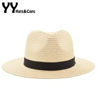Stingy Brim Şapka Vintage Panama Şapka Erkekler Saman Fedora Erkek Sunhat Kadınlar Yaz Plaj Güneşlik Cap Chapeau Cool Caz Trilby Sombrero YY17161