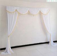 Perde Swag Düğün Dekorasyon püskül Olay Sahne Arkaplan Perdeler Swag ile 6M 20FT Beyaz Düğün Arka Plan Swag
