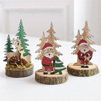 Dekoracje świąteczne Drewniane Kreatywny Desktop Mały Drzewo Mini Ozdoby Blok dla domu U3