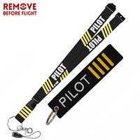 Llaveros Eliminar antes de la joyería de la moda de vuelo Llavero mixto Etiqueta de seguridad Bordado Piloto Lanyard para anillo Regalos de aviación